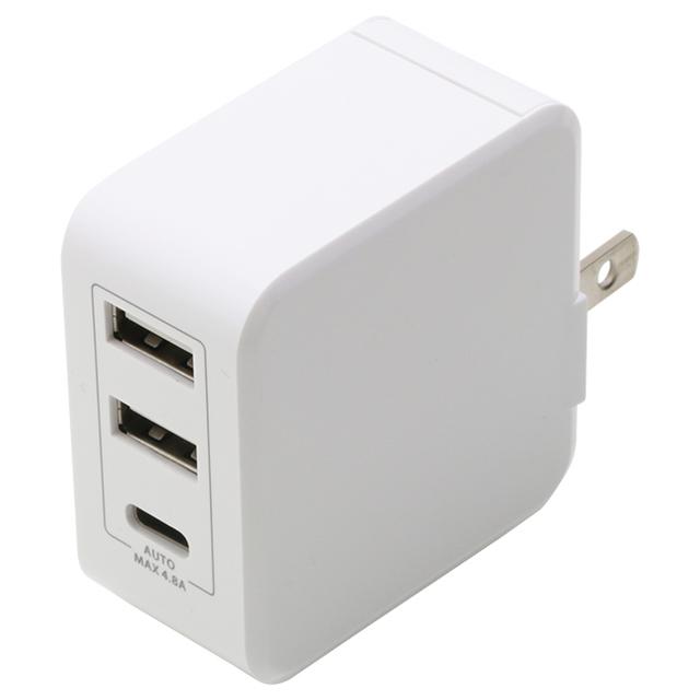 急速AC充電器4.8A USB2,C1ポート自動判別